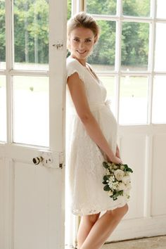 With more pregnant brides than ever before, there's a demand for beautiful maternity bridal gowns. Check out these beautiful dresses designed to capture the double joy of a blushing bride and expectant mother