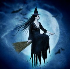 Wiccan Moonsong: The Flying Witch Purple Halloween, Halloween Cat, Happy Halloween, Witch Flying On Broom, Witch History, Childhood Fears, Creepy Vintage, Witch Cat, Sailor Saturn