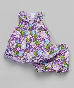 Take a look at this Purple Floral Ruffle Dress & Bloomers - Infant on zulily today!