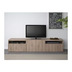 IKEA - BESTÅ, TV unit, Lappviken walnut effect light gray, drawer runner, push-open, , The drawers and door have integrated push-openers, so you don't need handles or knobs and can open them with just a light push.It's easy to keep the cords from your TV and other devices out of sight but close at hand, as there are several cord outlets at the back of the TV bench.The cord outlet at the top lets cords and cables run down smoothly even if the TV is mounted on the wall.Two large drawers make…