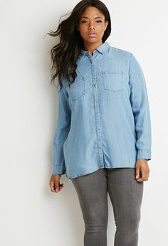 Plus Size Classic Chambray Shirt