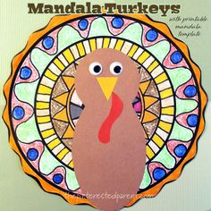 This mandala turkey craft is the perfect Thanksgiving project for kids. Design your own mandala using our draw-in template. Thanksgiving Projects, Thanksgiving Preschool, Thanksgiving Turkey, Fall Crafts For Kids, Projects For Kids, Kindergarten Art Projects, Kindergarten Classroom, Student Crafts, November Crafts
