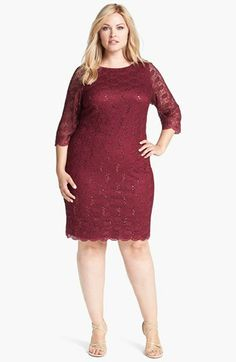 Calvin Klein Sequin Detail Lace Sheath Dress (Plus Size) available at #Nordstrom