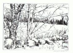 Drypoint etching by Jane Grant Tentas