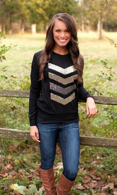 The Pink Lily Boutique - Black Shimmer Sweater, $38.00 (http://thepinklilyboutique.com/black-shimmer-sweater/)