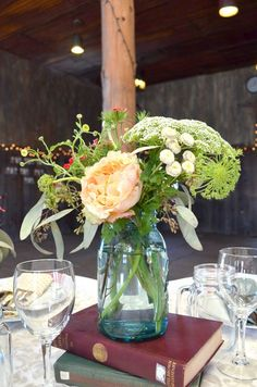 Shabby chic wedding centerpiece in mason jar (Meredith Moran Photography)