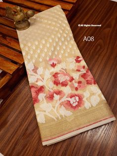 Pure handloom Organza Saree with Tilfi Work Borders ! **The World of Pure Fabrics**   Organza Saree, H Style, Chandigarh, Indian Wear, Wedding Styles, Pure Products, Mumbai, Singapore, Fabrics