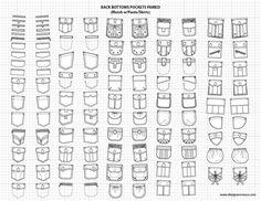 Pants / Skirts Pockets 2 - Adobe Illustrator Flat Fashion Sketch Templates