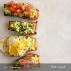 """Avocado Sweet Potato """"toast"""" which is just smashed avocado on a baked sweet potato. Cook potato slices 400 degrees for 35-40m. Mash avocado with salt pepper and lime. Top as you please - fried egg, etc."""