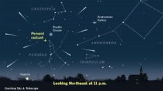 Look for the Perseid meteor shower coming from the constellation Perseus in the northeastern sky on the night of Aug. The Perseids appear to radiate out from a point on the border of constellations Perseus and Cassiopeia. Hubble Space Telescope, Space And Astronomy, Astronomy Facts, Perseid Meteor Shower, Hubble Images, Dark Moon, Sun Moon, Andromeda Galaxy, Dark Skies