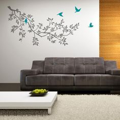 [ Large Black Tree Branch Wall Decal Giant Sticker Removable Green Decor Living Room Stickers ] - Best Free Home Design Idea & Inspiration Grey Wall Stickers, Room Stickers, Wall Decals, Yellow Cactus, Grey Walls, Decoration, Girl Room, Living Room Decor, Interior Design