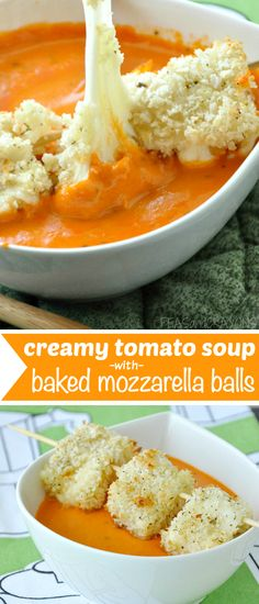 Creamy Tomato Soup topped with crispy, cheesy, Baked Mozzarella Balls :: via peasandcrayons.com