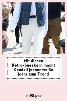 Kendall Jenner hat die perfekten Schuhe für die weiße Jeans entdeckt. Wir verraten, auf welchen Retro-Sneaker das Topmodel jetzt setzt – hier. #instyle #instylegermany #sneaker #trend #retro Kendall Jenner, Chuck Taylors, Converse Chuck Taylor, Jeans Und Sneakers, Sneaker Trend, Models, Outfit, Retro, Shopping