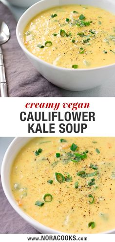 Super Creamy Vegan Cauliflower Kale Soup – Nora Cooks SUPER Creamy Cauliflower Kale Soup, only 8 ingredients and made in just 30 minutes or less! The perfect comfort food for raining days or busy weeknight dinners. Vegan Soups, Vegan Dishes, Vegetarian Recipes, Healthy Recipes, Kale Soup Recipes, Chicken Soup Recipes, Recipe Chicken, Vegan Food, Whole Food Recipes