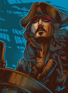 Jack Sparrow Dibujo, Jack Sparrow Drawing, Jack Sparrow Tattoos, Sparrow Art, Jack Sparrow Wallpaper, Wild Animal Wallpaper, Johnny Depp Pictures, Pirate Art, Movie Poster Art