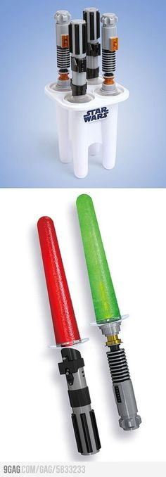 Star Wars Glowing Light saber Ice Pop Maker. I feel like i have to have this for my kid...