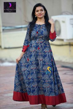Ikkat body piece with red border with paint cloth Simple Kurti Designs, Kurti Neck Designs, Kurti Designs Party Wear, Blouse Designs, Long Frocks For Girls, Stylish Dresses For Girls, Stylish Dress Designs, Kalamkari Dresses, Ikkat Dresses