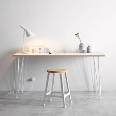 Hairpin Desk and Dining Table White Formica Birch Plywood &