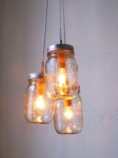 Mason Jar Chandelier Hanging Pendant Light - Summer Splendor Rustic Wedding Upcycled Lighting - BootsNGus Lamp Design.