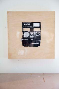 Polaroid Camera Cut Out on Wood Canvas 10x10 by jenrosenstein, $125.00