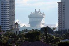 Royal Caribbean's Oasis of the Seas nearing Port Everglades in Fort Lauderdale by Monica R