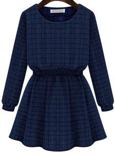 Blue Long Sleeve Plaid Pleated Dress - abaday.com