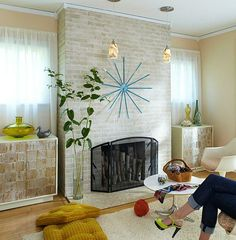 painted brick fireplace - Google Search