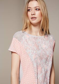Elegant short sleeve top in a beautiful mix of patterns from s.Oliver