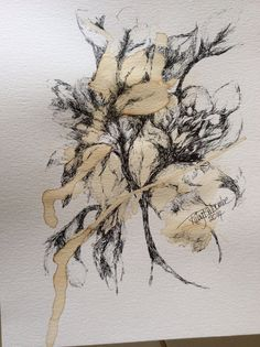 Coffee painting 3 original abstract pen drawing 9x12 by iartRuby