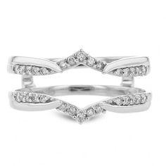 Diamond Cradle Wedding Band , 14K White Gold, .20TDW - Wedding Bands - Bridal