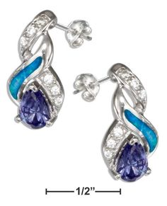 Sterling Silver Cz, Purple Cubic Zirconia And Synthetic Blue Opal Earrings