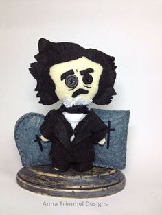Handmade Edgar Allan Poe Doll collectible by annatrimmeldesigns So cute!