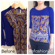 Refashioned Turtleneck into Long Sleeve T-shirt with Tribal Print - Step by Step Upcycling Tutorial Included
