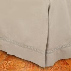 Liz Claiborne Santorini Solid Taupe Full Bedskirt With Crochet Trim Border Euc - Bed Skirts