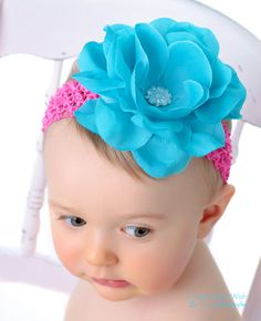 Bloom Couture Turquoise & Hot Pink Rose Baby Headband by Posh Little Tutus.com