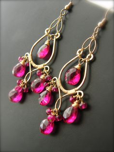SALE Hot Pink Topaz and 14k Gold Fill Chandelier Earrings -  Roxy Earrings One of A Kind