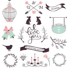 Elementos de diseño de boda Vector Gratis