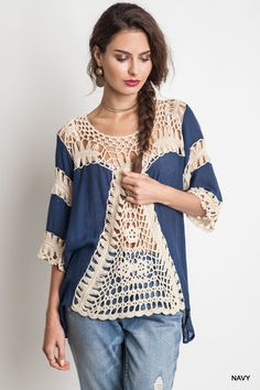 Crochet Blouse Vintage handmade crochet women blouses - Size information Note: The Blouse Has Some Elasticity. Crochet Fabric, Crochet Tunic, Crochet Clothes, Crochet Lace, Crochet Tops, Easy Style, Online Clothing Boutiques, Crochet Woman, Pulls