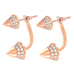 These rose-gold arrow earrings combine a sharp design and incredible white-diamond decoration for a daringly beautiful look. They're just the touch of bold and elegant you've been searching for.