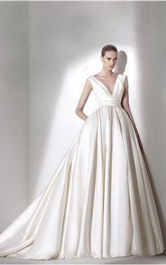 sku:fcaf1030; Silhouette:Princess; Hemline:Floor-length; Fabric:Silk Like Satin; Back Details:Zipper; Neckline:Deep V-neck; Waist:Empire; Colour:White; Sleeve Length:Sleeveless;