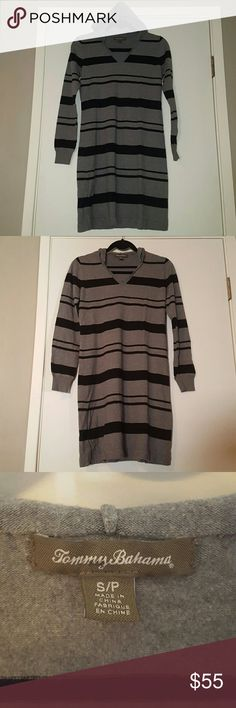T.B. hooded midi dress S/P Tommy bahama long sleeve hooded black and grey striped dress. Size S/P. Like new worn only a few times. Tommy Bahama Dresses Midi