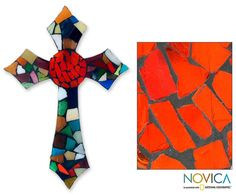 Novica Stained 'Fire of Faith' Wall Cross
