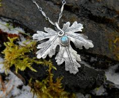 Elven Leaf Necklace With Labradorite - Made With a Real Leaf- Silvan Leaf - Artisan Handcrafted with Recycled Fine Silver - Silvan Arts