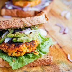Vegan sweet potato-tofu burger
