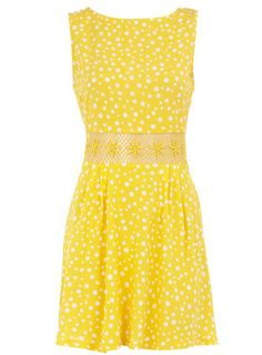 Dorothy Perkins  Yellow polka dot crochet tunic. Wish it was another color since yellow washes me out.