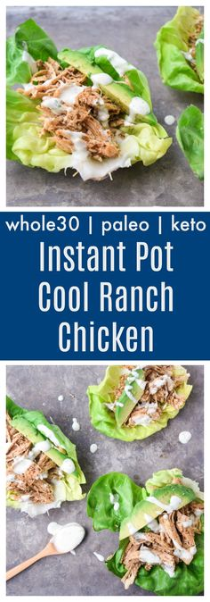 Instant Pot Cool Ranch Chicken (Whole30, Paleo, Keto) - homemade taco and ranch seasonings make a great combo for chicken! Super fast recipe made in the Instant Pot and Whole30 compliant! | tastythin.com