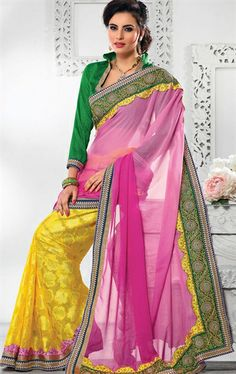 Picture of Pretty Looking Pink and Yellow Color Georgette Saree