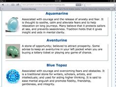 and meaning# aquamarine # adventurine # blue topaz Blue Topaz Meaning, Meaning Of Blue, Chakra Crystals, Stones And Crystals, Healing Crystals, Minerals And Gemstones, Gemstones Meanings, Meditation Crystals, Crystals