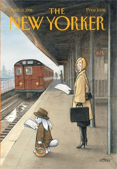 The New Yorker Cover, April Harry Bliss. Woman on train platform looking at Easter bunny who is reading a newspaper and waiting for a commuter train. The New Yorker, New Yorker Covers, Old Magazines, Vintage Magazines, Capas New Yorker, Cover Art, Editorial Illustration, Lapin Art, Plakat Design