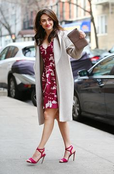 "Emmy Rossum stopped by ABC studios to record her appearance on ""Live! With Kelly and Michael"" in New York City on Jan. Celebrity Feet, Celebrity Style, Sils Maria, Abc Studios, Floral Frocks, Emmy Rossum, Star Pictures, Brian Atwood, Red Carpet Looks"